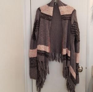BKE Fly Away Fringe Cardigan